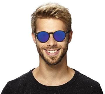 Original La Optica Verspiegelte UV400 Runde Unisex Retro Sonnenbrille - Farben, Einzel-/Doppelpacks (Einzelpack Rubber Schwarz (POLARISIERTE Gläser: Blau verspiegelt)) - 3