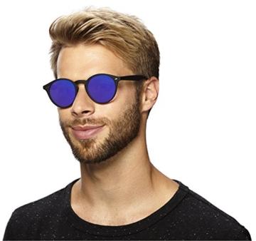 Original La Optica Verspiegelte UV400 Runde Unisex Retro Sonnenbrille - Farben, Einzel-/Doppelpacks (Einzelpack Rubber Schwarz (POLARISIERTE Gläser: Blau verspiegelt)) - 4
