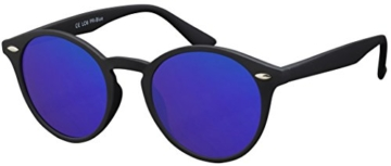 Original La Optica Verspiegelte UV400 Runde Unisex Retro Sonnenbrille - Farben, Einzel-/Doppelpacks (Einzelpack Rubber Schwarz (POLARISIERTE Gläser: Blau verspiegelt)) - 1