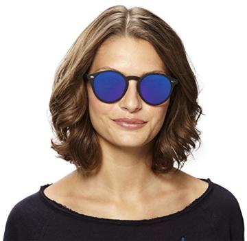 Original La Optica Verspiegelte UV400 Runde Unisex Retro Sonnenbrille - Farben, Einzel-/Doppelpacks (Einzelpack Rubber Schwarz (POLARISIERTE Gläser: Blau verspiegelt)) - 5
