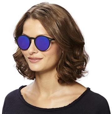 Original La Optica Verspiegelte UV400 Runde Unisex Retro Sonnenbrille - Farben, Einzel-/Doppelpacks (Einzelpack Rubber Schwarz (POLARISIERTE Gläser: Blau verspiegelt)) - 6