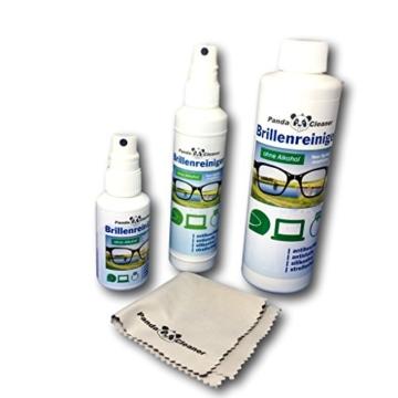 PANDACLEANER® Set 400ml Brillenreiniger 50ml Spray für unterwegs + 100ml für Zuhause + 250ml Nachfüllflasche | ohne Alkohol | antibeschlag | streifenfrei | Auch für Displays, Monitore, Visiere - 1