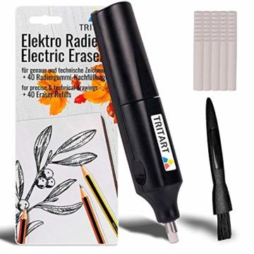 PREMIUM Elektrischer Radiergummi | Elektro-Radierer und 40 Ersatzgummis Gratis Säuberungspinsel | Batterie Radierer von Tritart - 1