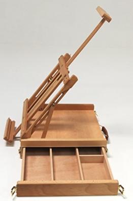 Professionelle Tischstaffelei aus Buchenholz (FSC®- zertifiziert), für Keilrahmen bis 80cm, Qualität vom Fachhändler, Sitzstaffelei - 1