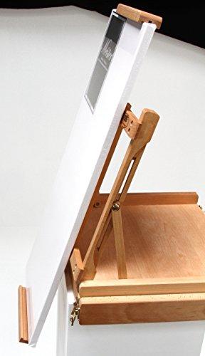 Professionelle Tischstaffelei aus Buchenholz (FSC®- zertifiziert), für Keilrahmen bis 80cm, Qualität vom Fachhändler, Sitzstaffelei - 4