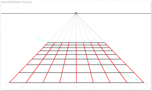 Quadratisches Kachelmuster perspektivisch zeichnen