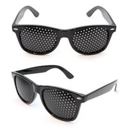 Raster-Brille/Loch-Brille für Augen-Training und Entspannung im 2er Set, Gitter-Brille mit faltbaren Bügeln, Form B - 1