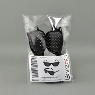 Raster-Brille/Loch-Brille für Augen-Training und Entspannung im 2er Set, Gitter-Brille mit faltbaren Bügeln, Form B - 5