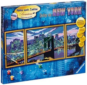 Ravensburger 28951 - Skyline von New York - Malen nach Zahlen Premium Triptychon, 100 x 40 cm -