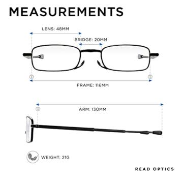Read Optics faltbare Brille: Vollrand Lesehilfe in Stärke 1,5 Dioptrien für Herren/Damen. Mit Hartschalen-Etui, flexiblen Metall-Bügeln und Federscharnier. Hochwertige Gläser, schwarzer Rahmen - 2
