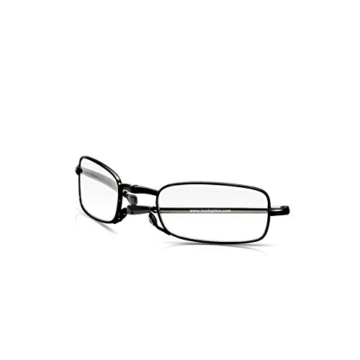 Read Optics faltbare Brille: Vollrand Lesehilfe in Stärke 1,5 Dioptrien für Herren/Damen. Mit Hartschalen-Etui, flexiblen Metall-Bügeln und Federscharnier. Hochwertige Gläser, schwarzer Rahmen - 3