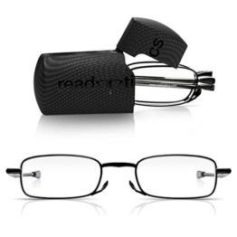 Read Optics faltbare Brille: Vollrand Lesehilfe in Stärke 1,5 Dioptrien für Herren/Damen. Mit Hartschalen-Etui, flexiblen Metall-Bügeln und Federscharnier. Hochwertige Gläser, schwarzer Rahmen - 1