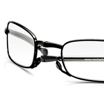 Read Optics faltbare Brille: Vollrand Lesehilfe in Stärke 1,5 Dioptrien für Herren/Damen. Mit Hartschalen-Etui, flexiblen Metall-Bügeln und Federscharnier. Hochwertige Gläser, schwarzer Rahmen - 5