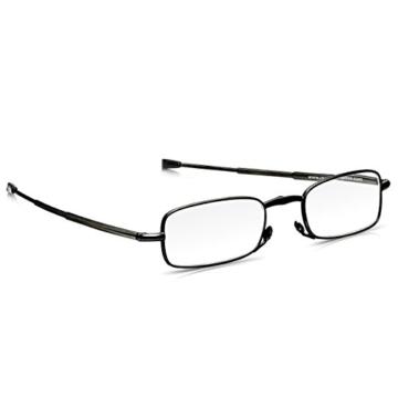 Read Optics faltbare Brille: Vollrand Lesehilfe in Stärke 1,5 Dioptrien für Herren/Damen. Mit Hartschalen-Etui, flexiblen Metall-Bügeln und Federscharnier. Hochwertige Gläser, schwarzer Rahmen - 6