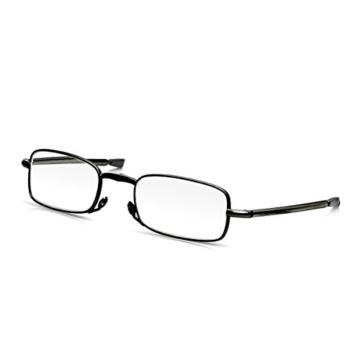 Read Optics faltbare Brille: Vollrand Lesehilfe in Stärke 1,5 Dioptrien für Herren/Damen. Mit Hartschalen-Etui, flexiblen Metall-Bügeln und Federscharnier. Hochwertige Gläser, schwarzer Rahmen - 8