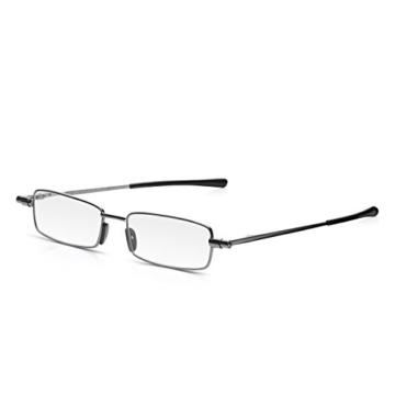 Read Optics ultra flache Lesebrille in Stärke +2,0 Dioptrien. Für Herren/Damen inkl dünnem Hartschalen-Etui. Kompakt faltbare Brille mit Vollrand. Schlanke Reise-Lesehilfe mit lebenslanger Garantie - 7
