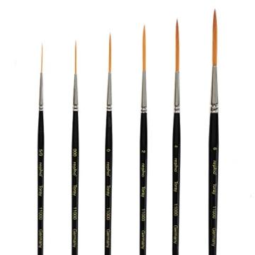 Repino Schlepperpinsel Set Toray Schriftpinsel Pinselset 6 Pinsel - Pinselgrösse 5/0, 000, 0, 2, 4, 6 - 1