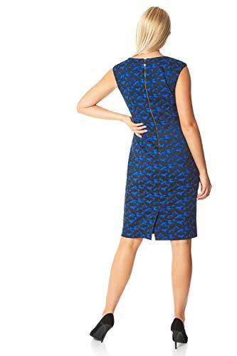 Roman Originals Damen tailliertes texturiertes Kleid mit abstraktem Print - Damen lässig-Elegante Kleider abends formell Büro Kontrast Karo Flügelärmel Rundhals Knielang - Royal Blue - Größe 46 - 2