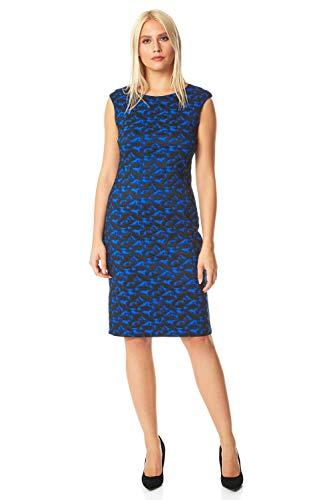 Roman Originals Damen tailliertes texturiertes Kleid mit abstraktem Print - Damen lässig-Elegante Kleider abends formell Büro Kontrast Karo Flügelärmel Rundhals Knielang - Royal Blue - Größe 46 - 3