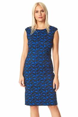 Roman Originals Damen tailliertes texturiertes Kleid mit abstraktem Print - Damen lässig-Elegante Kleider abends formell Büro Kontrast Karo Flügelärmel Rundhals Knielang - Royal Blue - Größe 46 - 1