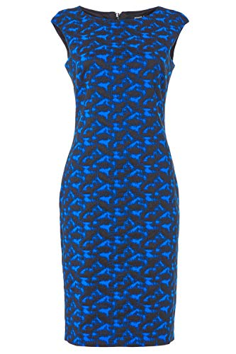 Roman Originals Damen tailliertes texturiertes Kleid mit abstraktem Print - Damen lässig-Elegante Kleider abends formell Büro Kontrast Karo Flügelärmel Rundhals Knielang - Royal Blue - Größe 46 - 5