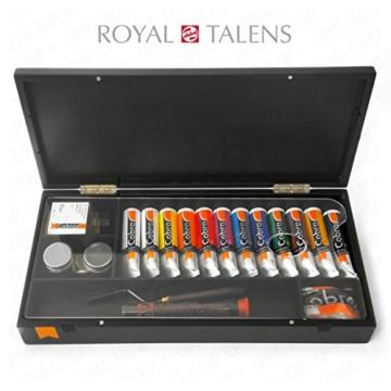 Royal Talens–Cobra Artist Wasser mischbare Ölfarben Art Set in Premium schwarz Geschenk-Box–mit Farben, Palette, und Pinsel - 1