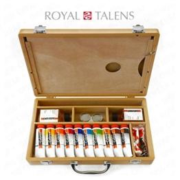 Royal Talens–Cobra Wasser mischbare Ölfarben Art Set im Premium Holz Fall–mit Farben, Palette, und Pinsel - 1