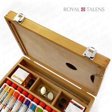 Royal Talens–Cobra Wasser mischbare Ölfarben Art Set im Premium Holz Fall–mit Farben, Palette, und Pinsel - 4