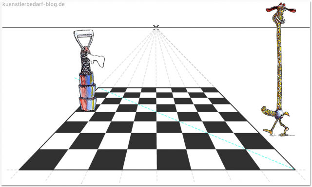 Schachbrett Zeichnung (Perspektive)