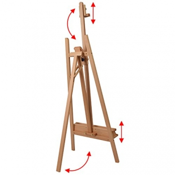 Schmincke Atelier-Staffelei S1 - aus Buche-Holz massiv - hochwertige Staffelei mit Malablagen für Ihr Künstler-Bedarf - 4