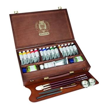 Schmincke Künstlerfarben, MUSSINI® Ölfarbe, Malkasten, Holzkasten mit 15 x 35ml Tuben, 1 x 150ml Weiß und Zubehör - 2