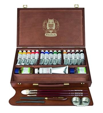 Schmincke Künstlerfarben, MUSSINI® Ölfarbe, Malkasten, Holzkasten mit 15 x 35ml Tuben, 1 x 150ml Weiß und Zubehör - 1
