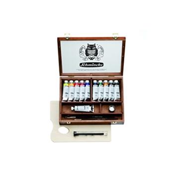 Schmincke Künstlerfarben, Norma® Professional Ölfarben, Malkasten, Holzkasten mit 11 x 35ml Tuben und Zubehör - 1