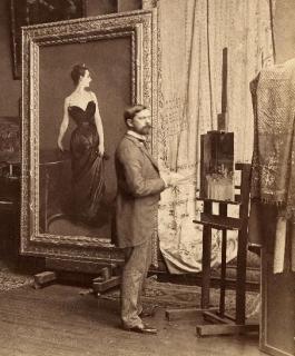 John Singer Sargent vor seiner Atelierstaffelei