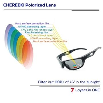 Sport Sonnenbrille, CHEREEKI Polarisierende Sport-Sonnenbrille mit UV400 Schutz & unzerbrechlichem Rahmen aus TR90, für Männer, Frauen, Outdoor-Sport, Angeln, Skifahren, Golf, Laufen, Radfahren, Camping - 2