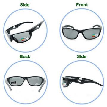 Sport Sonnenbrille, CHEREEKI Polarisierende Sport-Sonnenbrille mit UV400 Schutz & unzerbrechlichem Rahmen aus TR90, für Männer, Frauen, Outdoor-Sport, Angeln, Skifahren, Golf, Laufen, Radfahren, Camping - 3