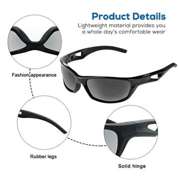 Sport Sonnenbrille, CHEREEKI Polarisierende Sport-Sonnenbrille mit UV400 Schutz & unzerbrechlichem Rahmen aus TR90, für Männer, Frauen, Outdoor-Sport, Angeln, Skifahren, Golf, Laufen, Radfahren, Camping - 4