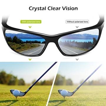 Sport Sonnenbrille, CHEREEKI Polarisierende Sport-Sonnenbrille mit UV400 Schutz & unzerbrechlichem Rahmen aus TR90, für Männer, Frauen, Outdoor-Sport, Angeln, Skifahren, Golf, Laufen, Radfahren, Camping - 5