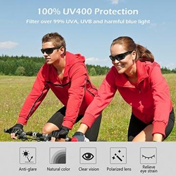 Sport Sonnenbrille, CHEREEKI Polarisierende Sport-Sonnenbrille mit UV400 Schutz & unzerbrechlichem Rahmen aus TR90, für Männer, Frauen, Outdoor-Sport, Angeln, Skifahren, Golf, Laufen, Radfahren, Camping - 6