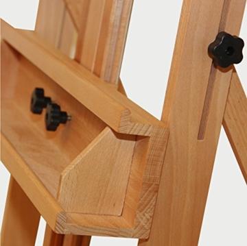 Stabile Studio Staffelei 147 aus FSC® Buchenholz, für Keilrahmen bis 200cm, mit großer Ablage für Malutensilien - 3