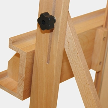 Stabile Studio Staffelei 147 aus FSC® Buchenholz, für Keilrahmen bis 200cm, mit großer Ablage für Malutensilien - 4