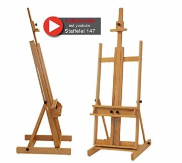 Stabile Studio Staffelei 147 aus FSC® Buchenholz, für Keilrahmen bis 200cm, mit großer Ablage für Malutensilien - 1