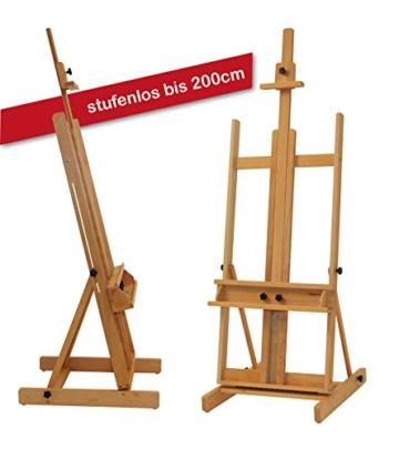 Stabile Studio Staffelei 147 aus FSC® Buchenholz, für Keilrahmen bis 200cm, mit großer Ablage für Malutensilien - 5