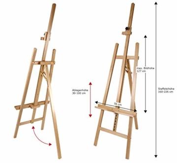 Staffelei COMO aus Buchenholz FSC®, Keilrahmen bis 130cm, Höhe bis 230 cm, Qualität vom Fachhändler - 2