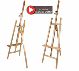 Staffelei COMO aus Buchenholz FSC®, Keilrahmen bis 130cm, Höhe bis 230 cm, Qualität vom Fachhändler - 1