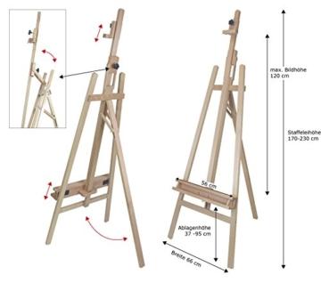 Staffelei ELBA aus Buchenholz FSC, Sitz- und Standstaffelei Starthöhe 40-105 cm, Qualität vom Fachhändler für Keilrahmen bis 120cm - 2