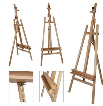 Staffelei ELBA aus Buchenholz FSC, Sitz- und Standstaffelei Starthöhe 40-105 cm, Qualität vom Fachhändler für Keilrahmen bis 120cm - 3