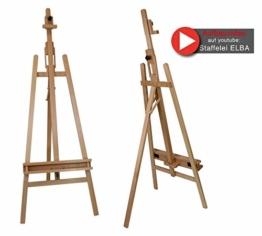 Staffelei ELBA aus Buchenholz FSC, Sitz- und Standstaffelei Starthöhe 40-105 cm, Qualität vom Fachhändler für Keilrahmen bis 120cm - 1