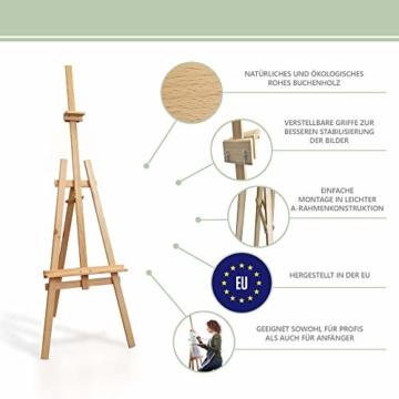 Staffelei holz groß Kinder - Leinwand Ständer Staffeleien für Maler aus Buchenholz 180 cm höhenverstellbar - 2