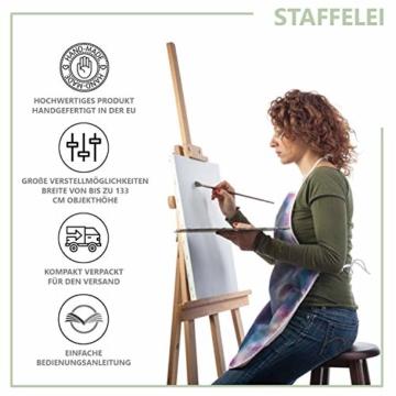 Staffelei holz groß Kinder - Leinwand Ständer Staffeleien für Maler aus Buchenholz 180 cm höhenverstellbar - 3